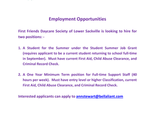 First Friends Daycare Society Employment Opportunities