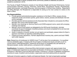 Dalhousie University - Receptionist (Term)