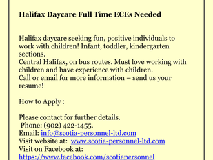 ECEs Needed for Halifax Daycare