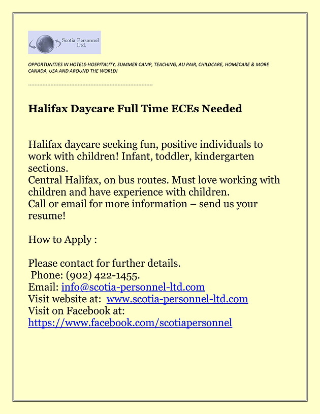ECEs Needed for Halifax Daycare | Opportunity Place Resource Center