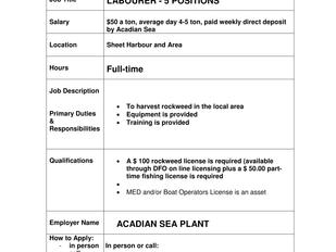 Acadian Sea Plant - Labourer (5 Positions)