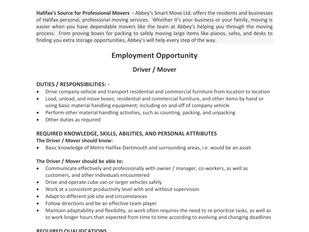 Abbey's Smart Move Ltd. - Driver/Mover