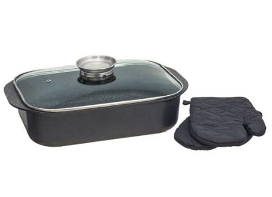 סיר רוסטר ו-2 כפפות חסינות חום לתנור