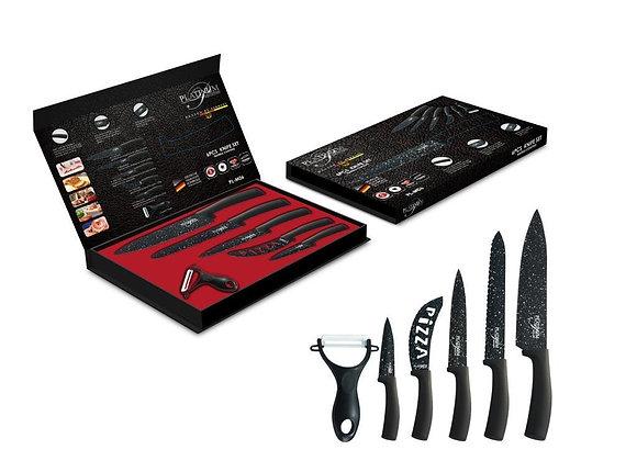 סט סכינים בציפוי אבן שיש + סכין פיצה וקולפן קרמי דגם PLATINUM!