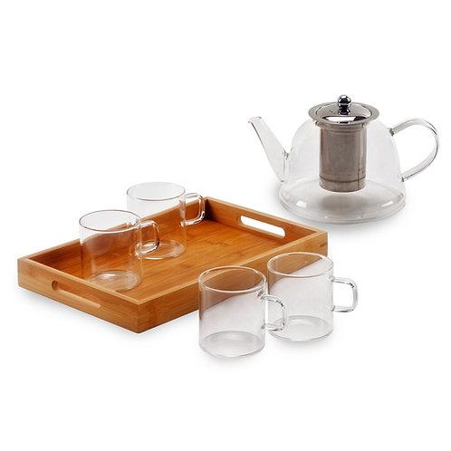 סט הגשה לתה הכולל מגש במבוק, קנקן + 4 כוסות מזכוכית חסינה 1.5 ליטר