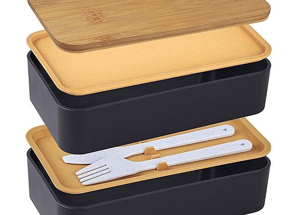 קופסת אוכל כפולה מהודרת 10 חלקים דגם Bamboo