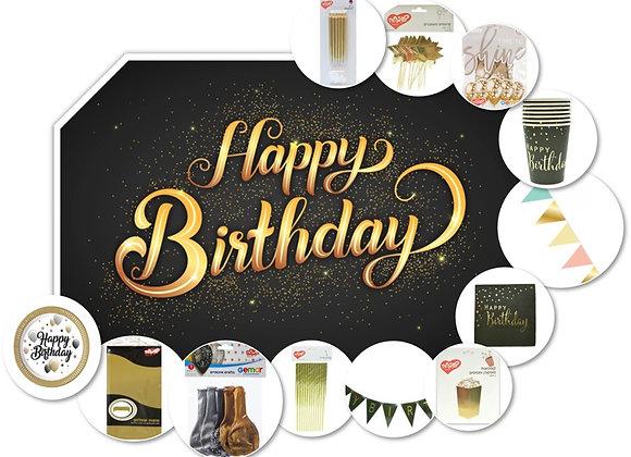 מארז יום הולדת HBD שחור/זהב – לעד 12 חוגגים