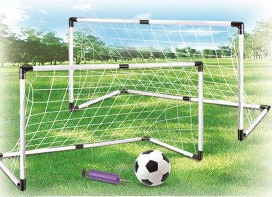 זוג שערי כדורגל 1.20 מטר כולל כדור כדורגל ומשאבה לניפוח