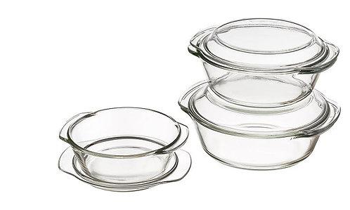 מארז 3 סירי זכוכית בגדלים שונים