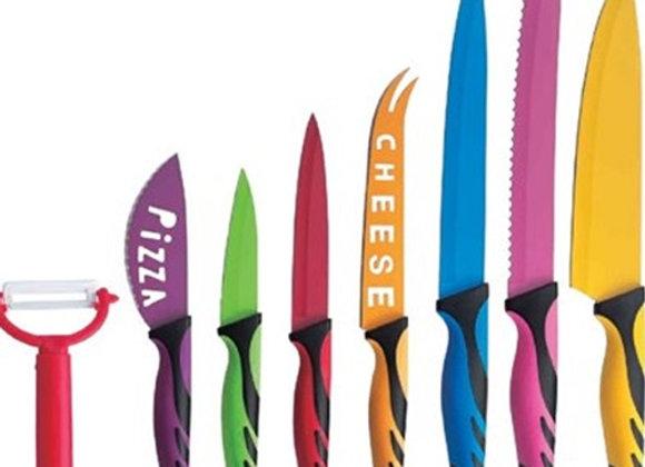 סט הכולל 8 סכינים וכלי חיתוך צבעוניים