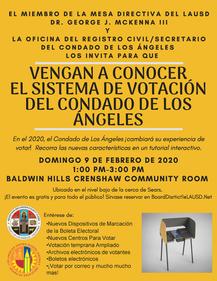 VENGAN A CONOCER EL SISTEMA DE VOTACIÓN DEL CONDADO DE LOS ÁNGELES