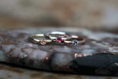 Natural Gemstone Fixed-bead Rings