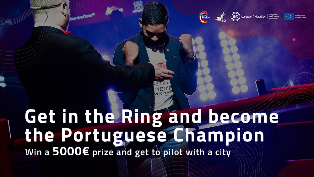 """Image of a startup founder celebrating in the world startups competition """"Get in the Ring"""", with logos and white text that says """"Get in the Ring and become the portuguese champion""""."""
