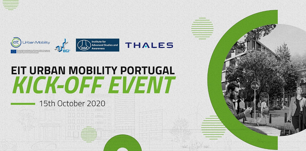 "White background with photo, logos and text saying ""EIT Urban Mobility Portugal Kick Off Event"""