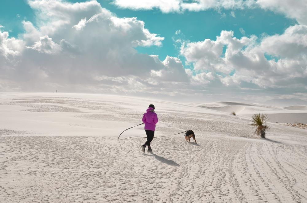 Jeune femme et son chien dans un désert de sable blanc en hiver. White Sands National Monument, Nouveau-Mexique