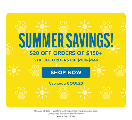 Code COOL20 gives a discount on a one-time purchase through our online pharmacy. Valid 7/20/21 to 8/2/21