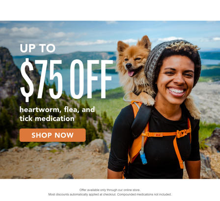 Get up to $75 off heart worm, flea, and tick medication through purchasing in our online pharmacy!
