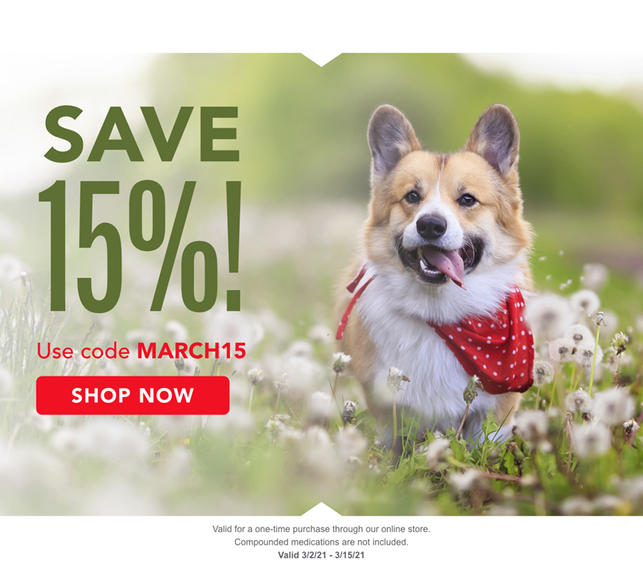 Use code MARCH15 to save 15% on your next pharmacy purchase! Valid 3/2 to 3/15