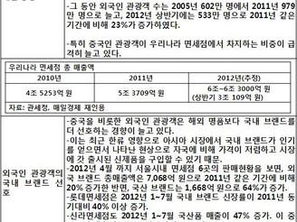 [지식정보] 우리나라 면세점 2012년 매출 성장세