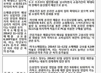 [지식정보]  유통시장(우리나라+글로벌) 2014년말~15년초 동향 전망