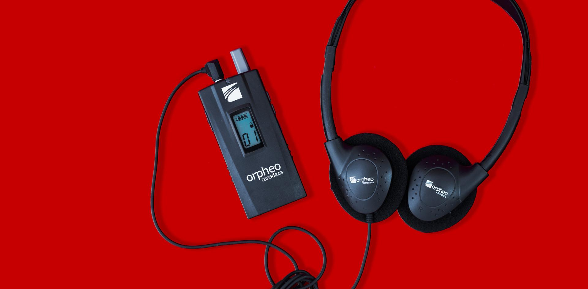 Récepteur et casque d'écoute écono