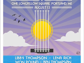 2pm set time at Block The Wind Festival, August 13th, One Longfellow Square, Portland!