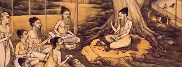 Cena antiga de guru e shishyas, professor e alunos, na India antiga