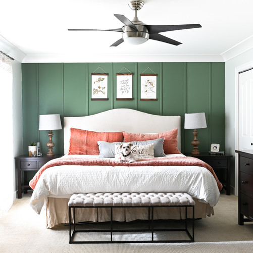 Master Bedroom with Green Accent Wall.jp