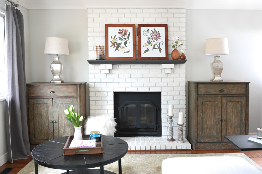 White brick fireplace mantle