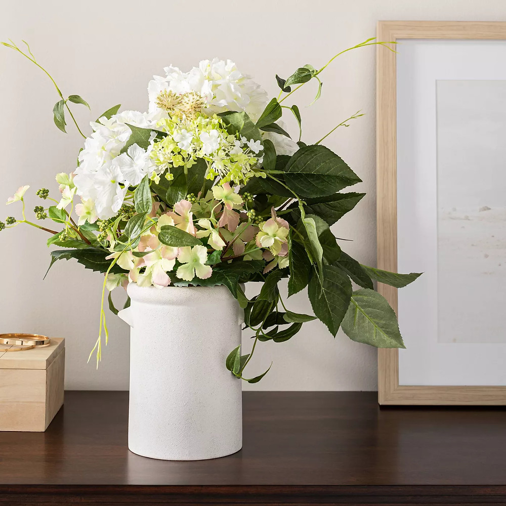 "16.5"" x 12"" Artificial Hydrangea & Clematis in Pot White/Green - Threshold™ designed with Studio McGee - image 2 of 6"