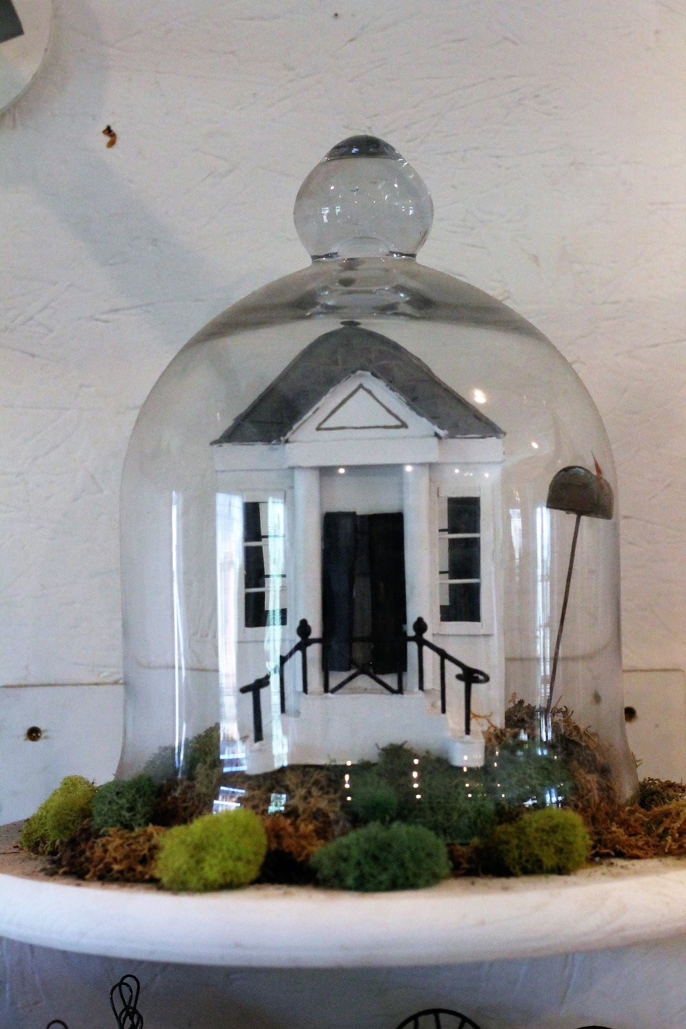 I adore cloches and Spanish moss!