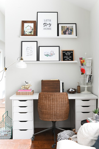 Desk tucked into Living Room