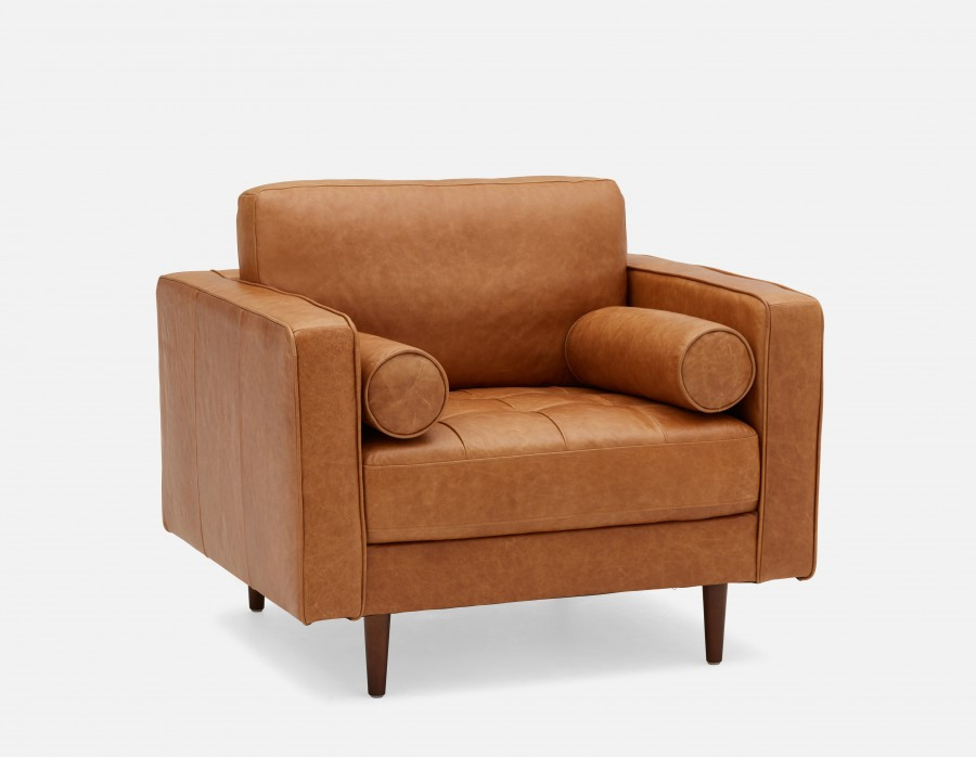 KINSEY - 100% Leather Armchair - Caramel