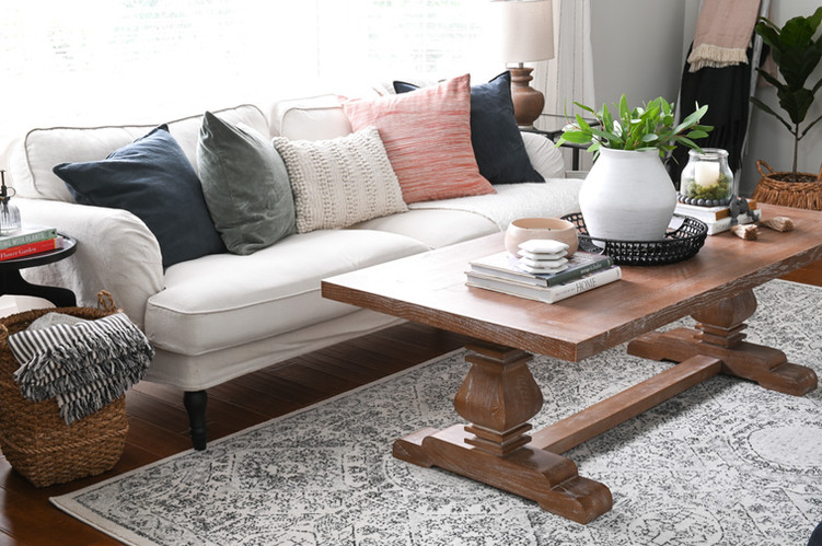 Trestle style coffee table