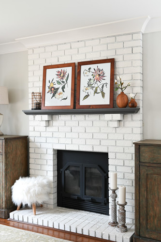 Floral prints on the mantle