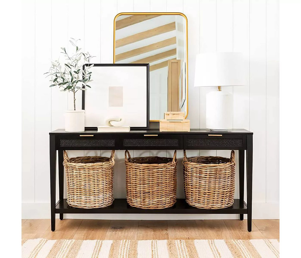 Woven Drawer Console Table Black - Threshold™ designed with Studio McGee - image 2 of 8
