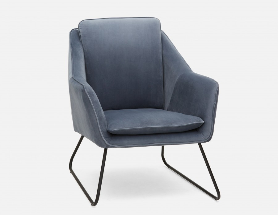 RAINER - velvet Armchair - Light Blue