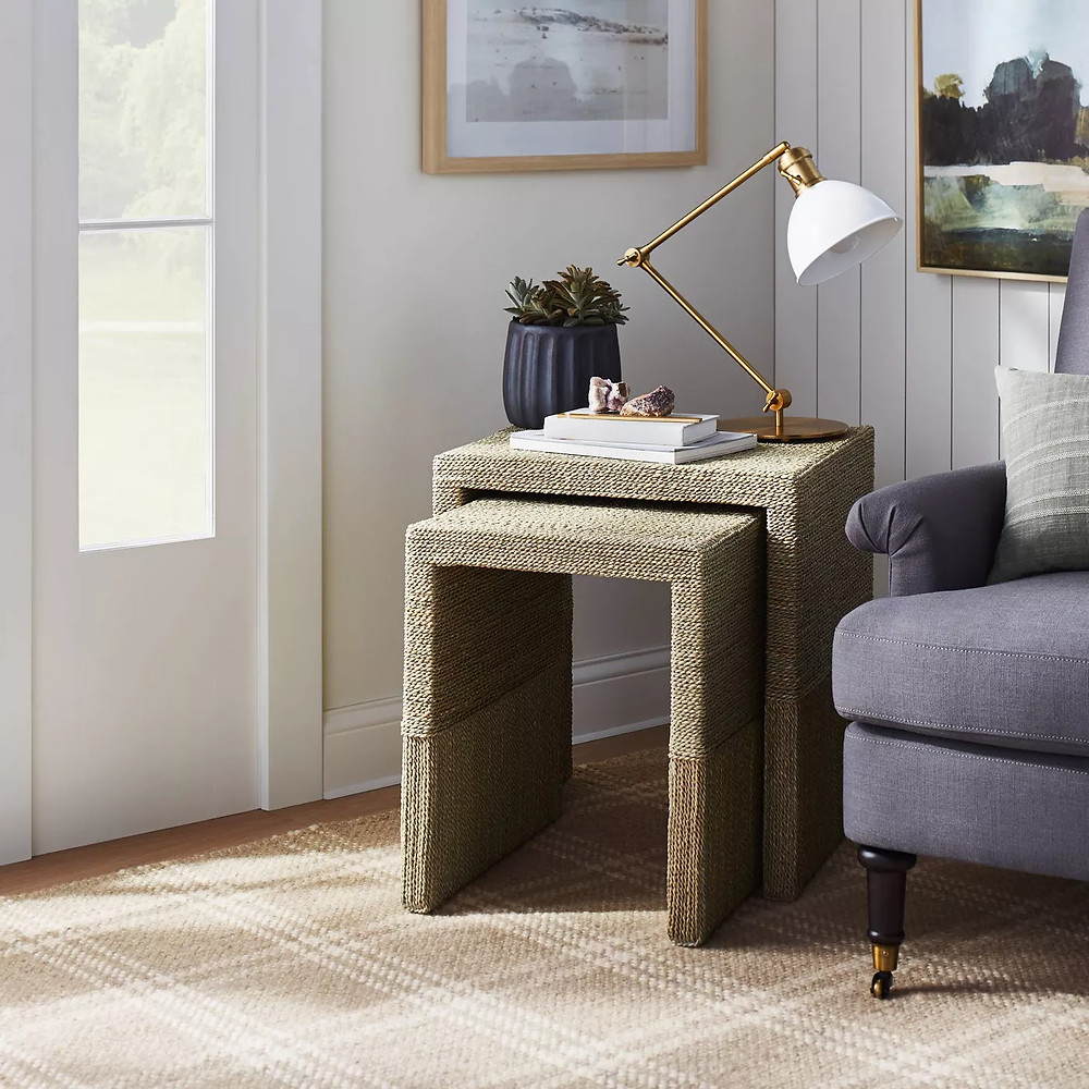 Set of 2 Woven Nesting Tables Natural - Threshold™ designed with Studio McGee - image 2 of 8