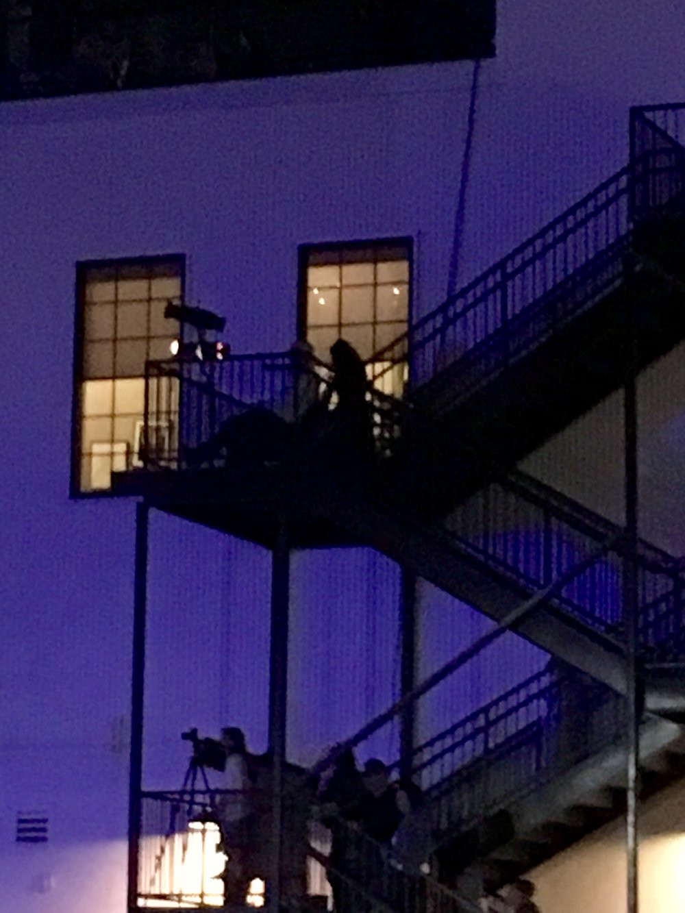 I snapped this picture of them watching the concert from the top of the fire escape. See what I mean...I became slightly stalker-y.