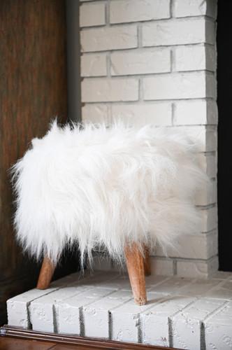 White fluffy stool