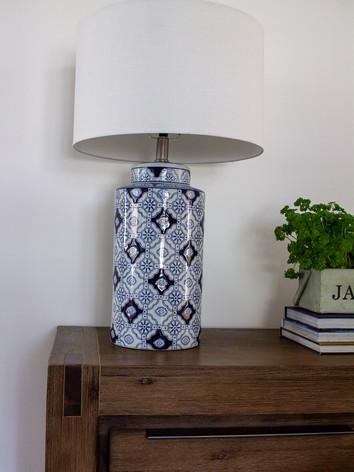 blue patterned lamp