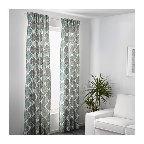 FJÄDERKLINT Curtains, 1 pair IKEA Linen gives the fabric a natural, irregular texture and makes it feel firm to the touch.