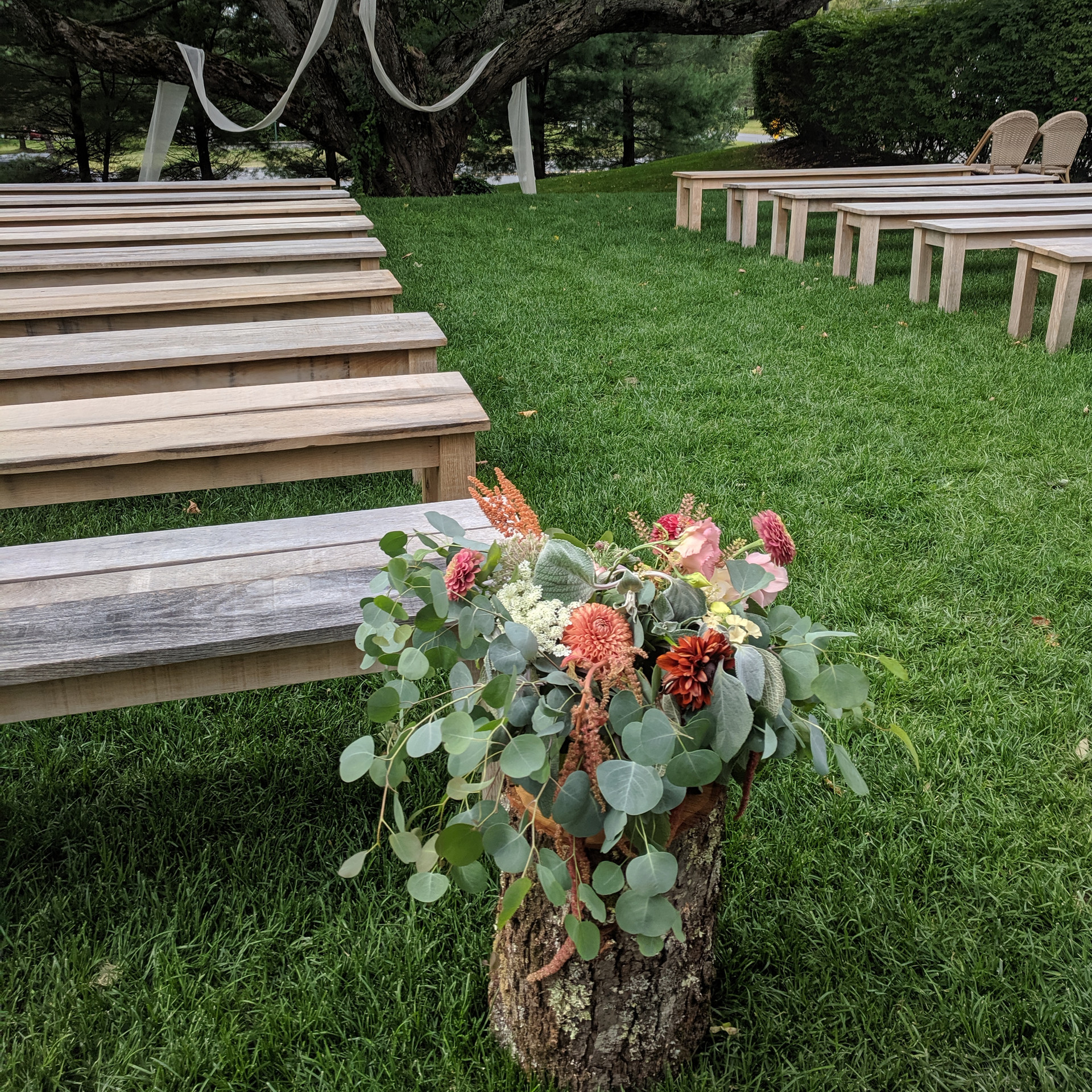Ceremony aisle at The Red Barn