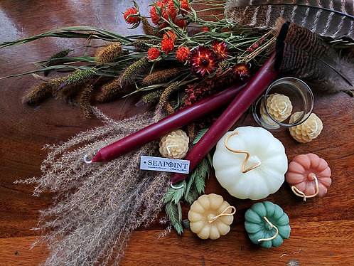 Beeswax candles: Pumpkins, Pine Cones, and Tapers