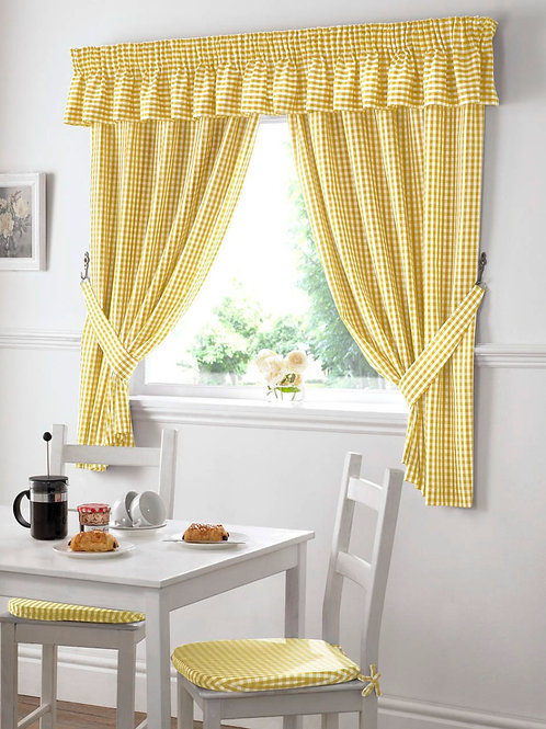 Gingham Kitchen Curtains (6 colours)