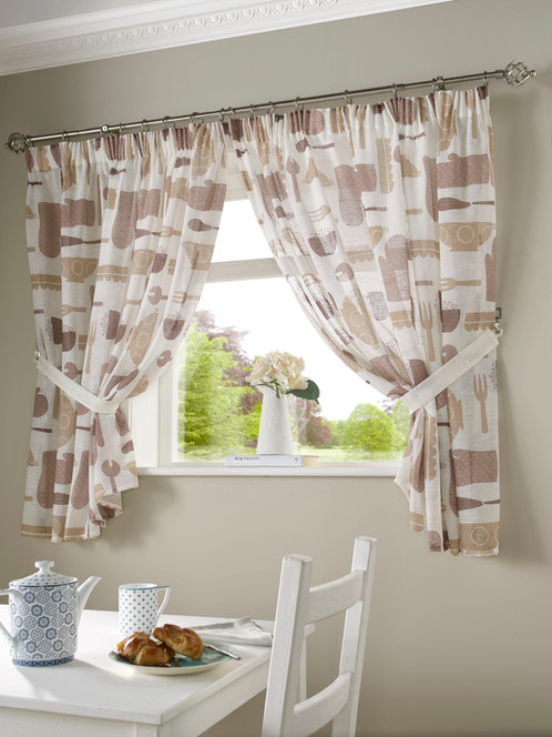 Bistro Kitchen Curtains Mocha