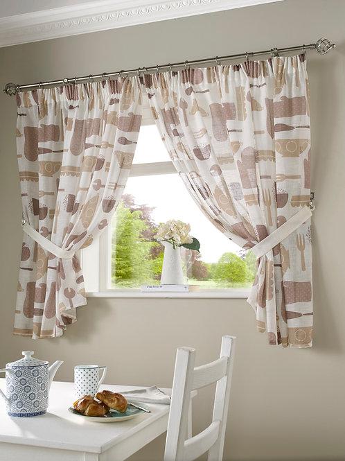 Bistro Kitchen Curtains (Mocha)