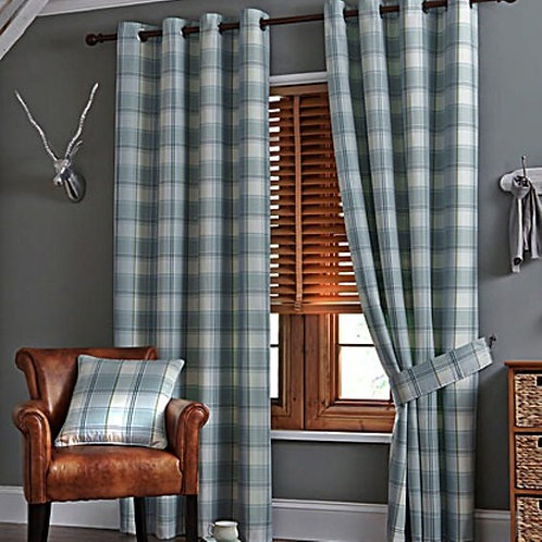 Woven Check Jacquard Ringtop Curtains (6 colours)