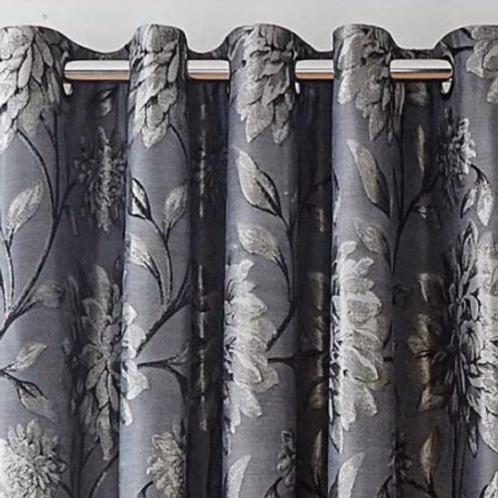 Elanie Metallic Leaf Ring Top Curtains (5 colours)