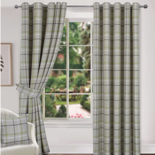 Hudson Woven Check Ring Top Curtains (4 colours)